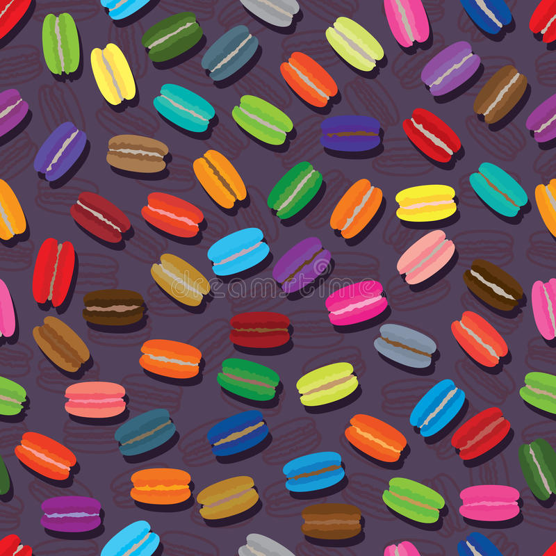 Modèle sans couture coloré de Macaron illustration de vecteur
