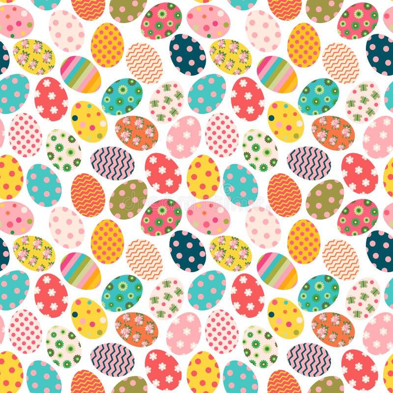 Modèle sans couture coloré de Pâques avec les oeufs peints illustration libre de droits