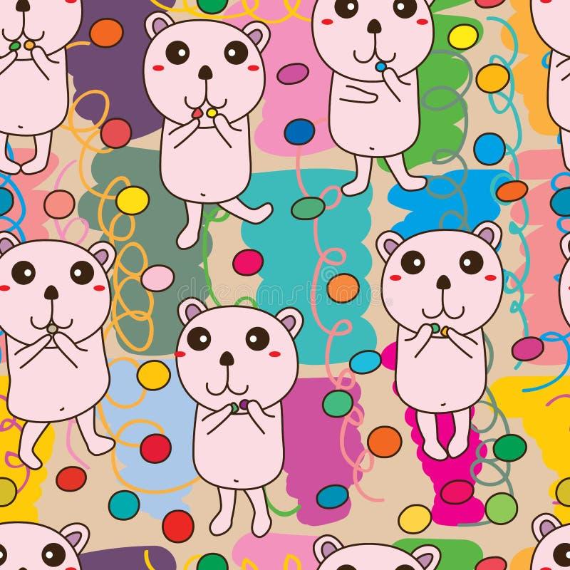 Modèle sans couture coloré de sucre d'ours illustration libre de droits