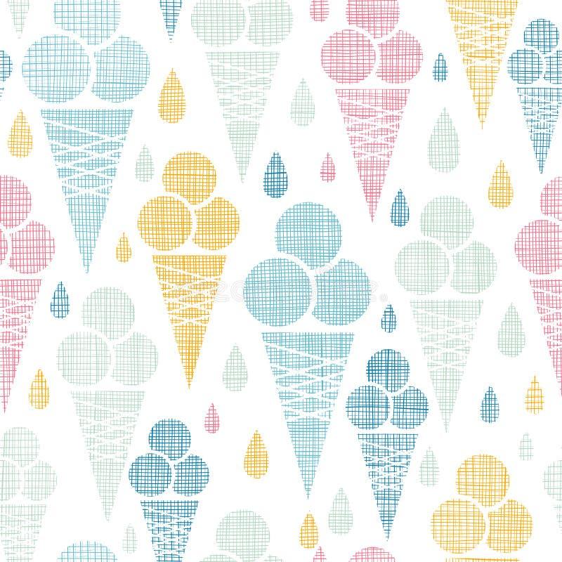 Modèle sans couture coloré de textile de cornets de crème glacée illustration de vecteur