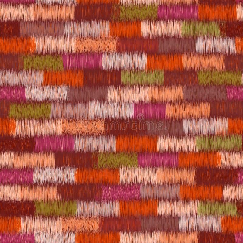 Modèle sans couture coloré de tissu rayé grunge d'armure illustration stock