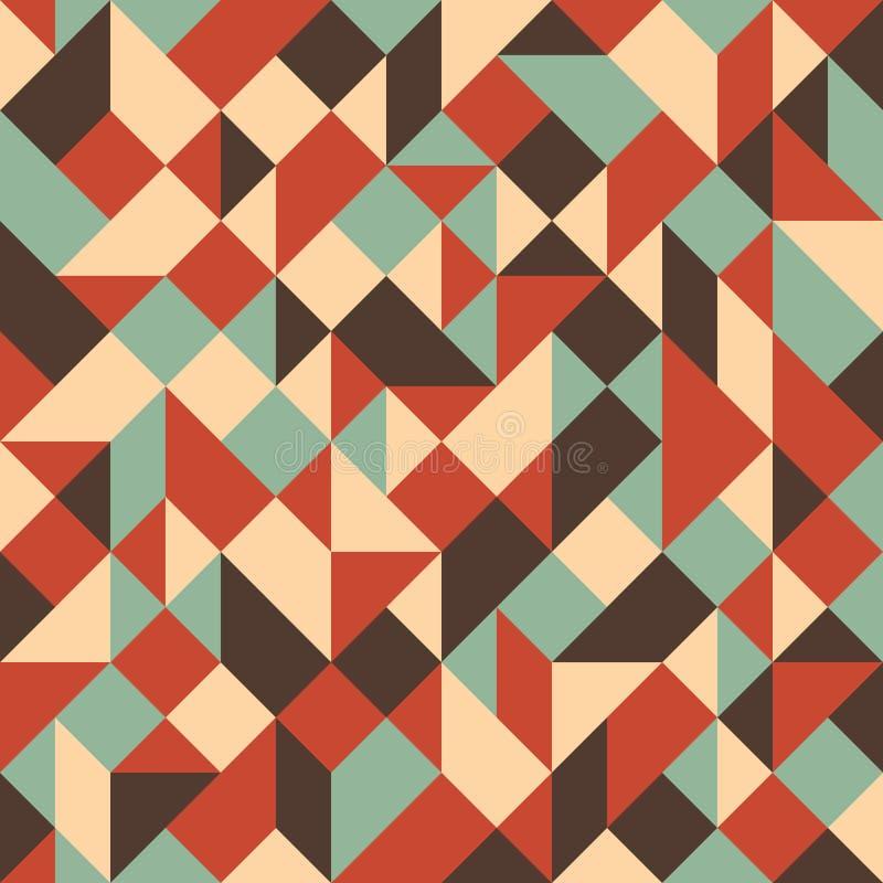 Modèle sans couture coloré de vintage avec des triangles et des places illustration de vecteur