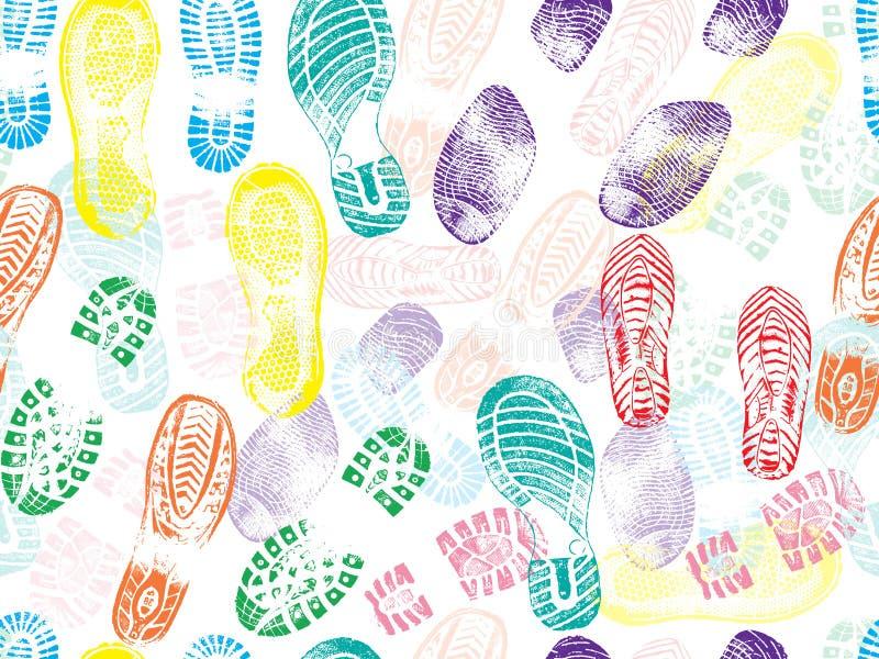 Modèle sans couture coloré des empreintes de pas d'impression de chaussure Illustration de vecteur illustration libre de droits