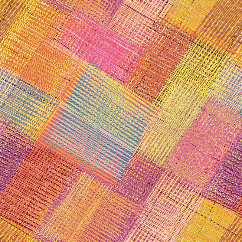 Modèle sans couture coloré diagonal rayé et à carreaux illustration stock