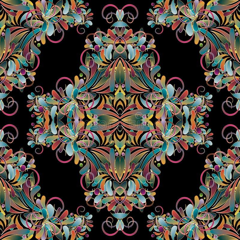Modèle sans couture coloré floral de vintage Backgr de vecteur de Flourish illustration libre de droits