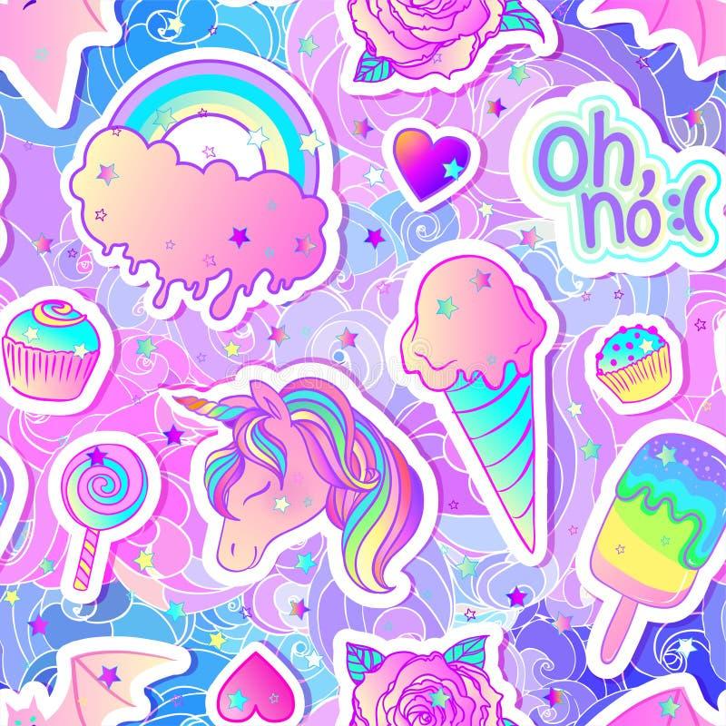 Modèle sans couture coloré : licorne, bonbons, arc-en-ciel, crème glacée, lucette, petit gâteau, rose, chauve-souris Illustration illustration libre de droits