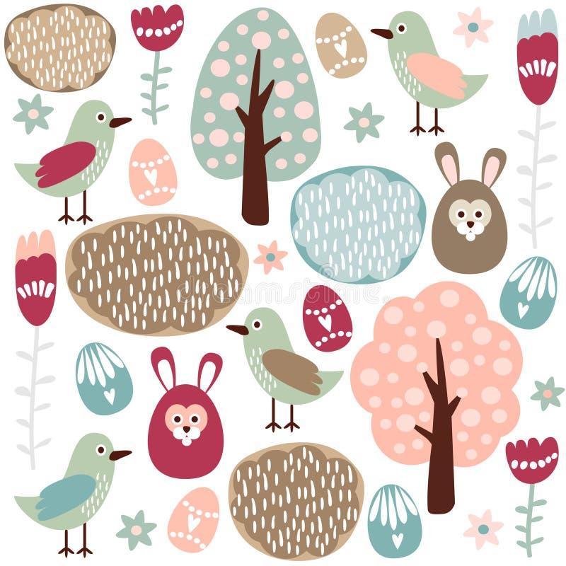 Modèle sans couture coloré mignon de ressort de Pâques avec les lièvres, l'oiseau et les fleurs illustration de vecteur