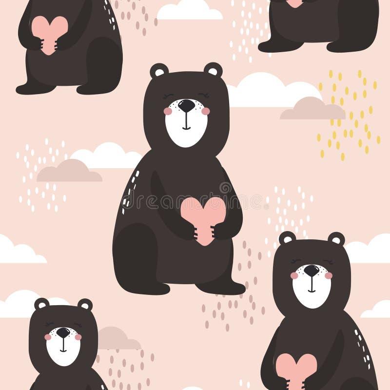 Mod?le sans couture color?, ours avec des coeurs et nuages Fond mignon d?coratif avec des animaux illustration de vecteur