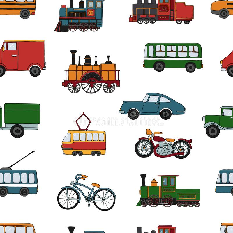 Modèle sans couture coloré par vecteur de rétros moteurs et de transport illustration stock