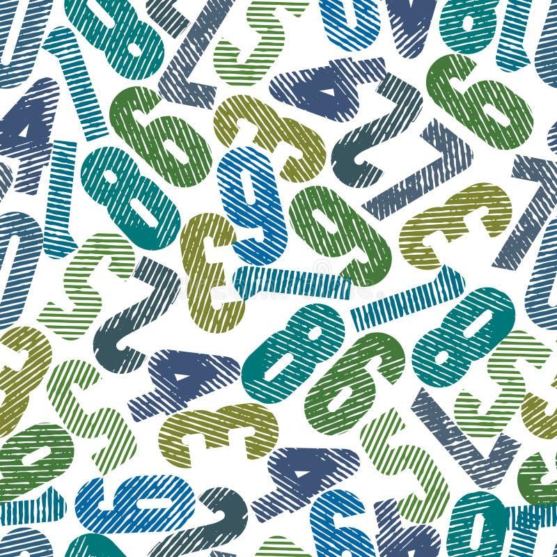 Modèle sans couture coloré rayé, nombre décoratif grand frotté illustration stock