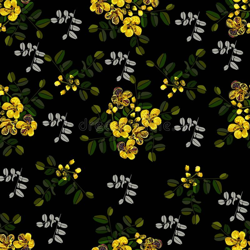 Modèle sans couture, conception graphique, fleur de casse dans le style abstrait sur le fond noir illustration de vecteur