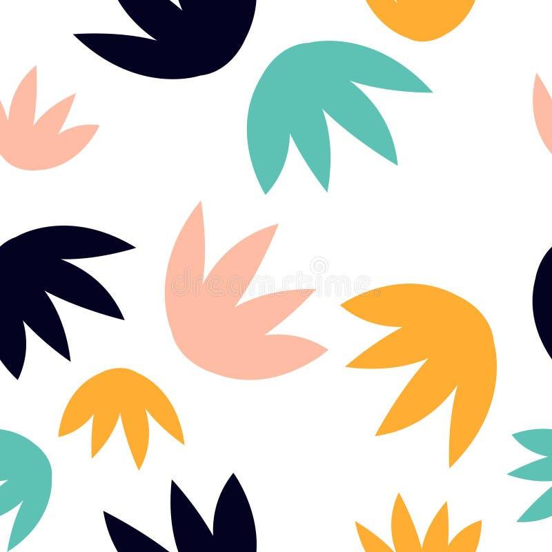 Modèle sans couture contemporain avec les feuilles florales abstraites illustration stock