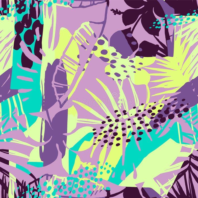 Modèle sans couture créatif de résumé avec les plantes tropicales et le fond artistique illustration de vecteur