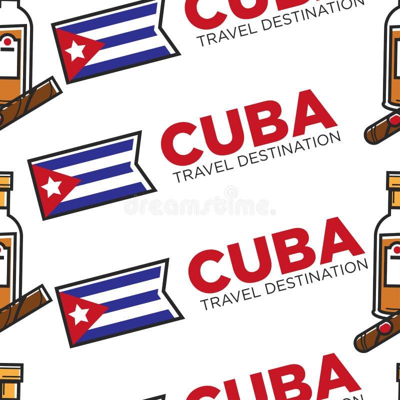 Modèle sans couture cubain de rhum et de cigare de destination de voyage du Cuba illustration libre de droits