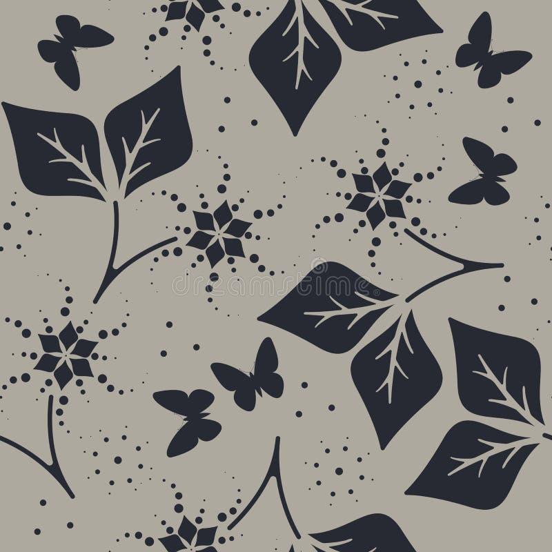 Modèle sans couture décoratif avec les papillons, les fleurs et le l mignons illustration stock