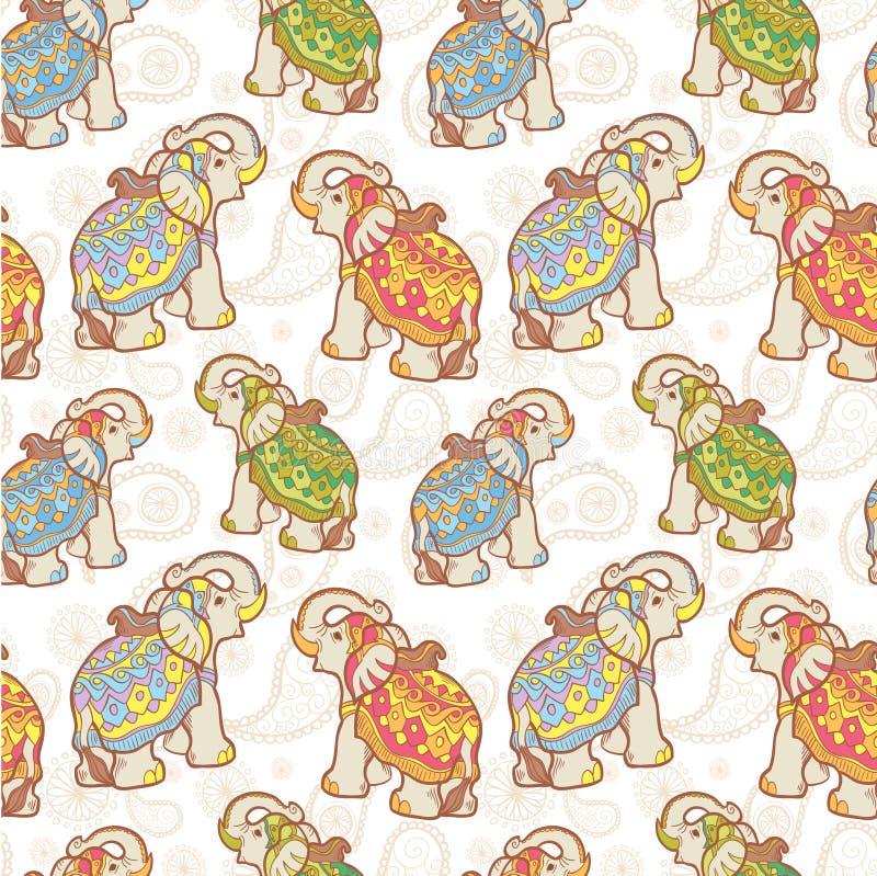 Modèle sans couture d'éléphant d'Asie illustration de vecteur