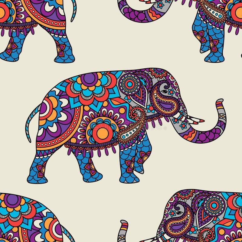 Modèle sans couture d'éléphant d'Asie de griffonnage illustration libre de droits