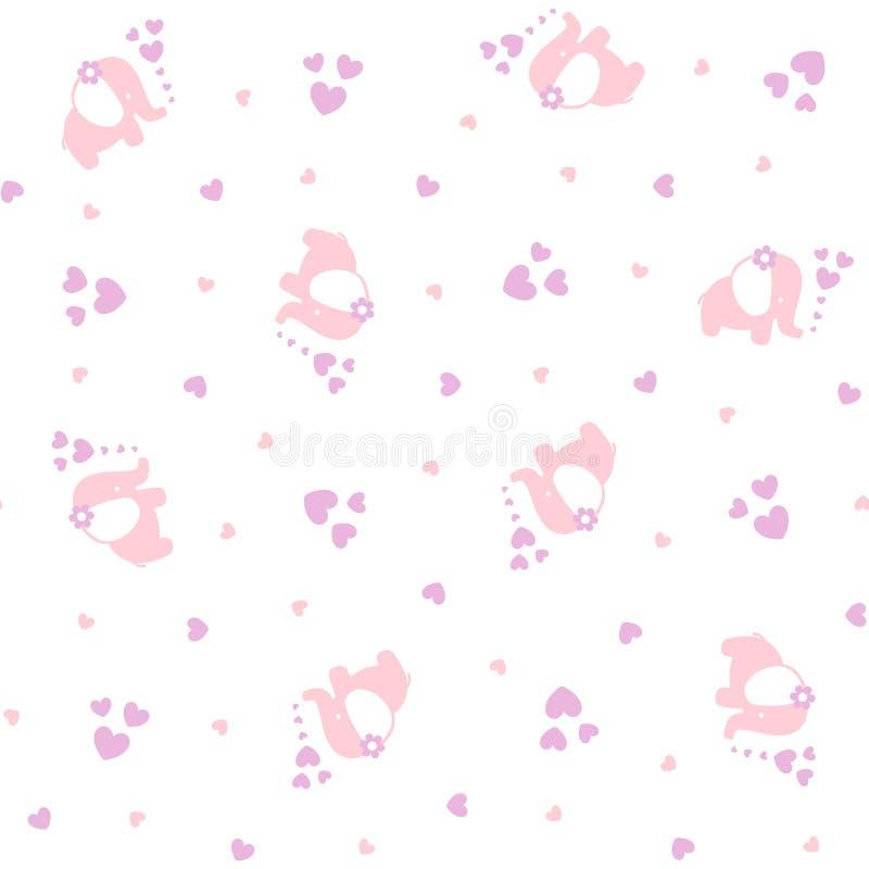 Modèle sans couture d'éléphants mignons de bébé avec des coeurs illustration stock