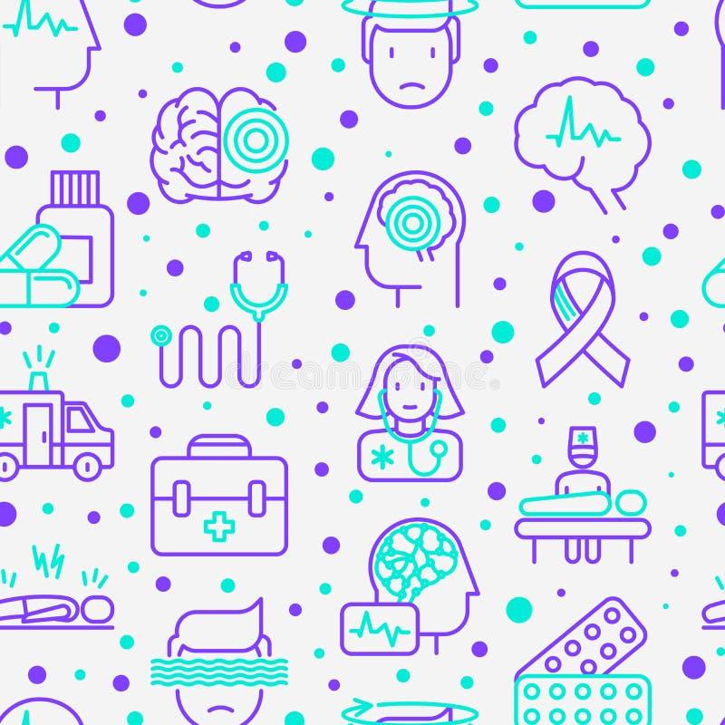 Modèle sans couture d'épilepsie avec la ligne mince icônes illustration libre de droits