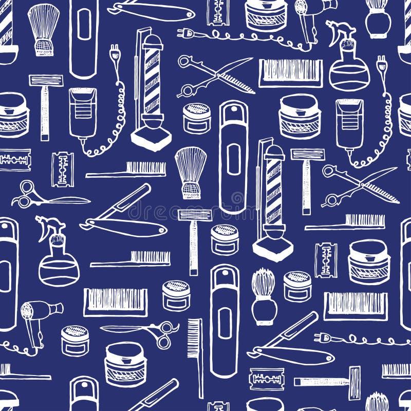 Modèle sans couture d'équipement de raseur-coiffeur d'aube de main Encre tirée par la main de lettrage illustration stock