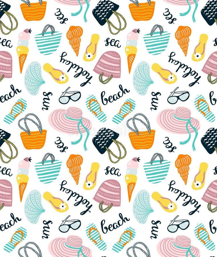 Modèle sans couture d'été avec des accessoires de plage sur le fond blanc Illustration tirée par la main de vecteur illustration stock