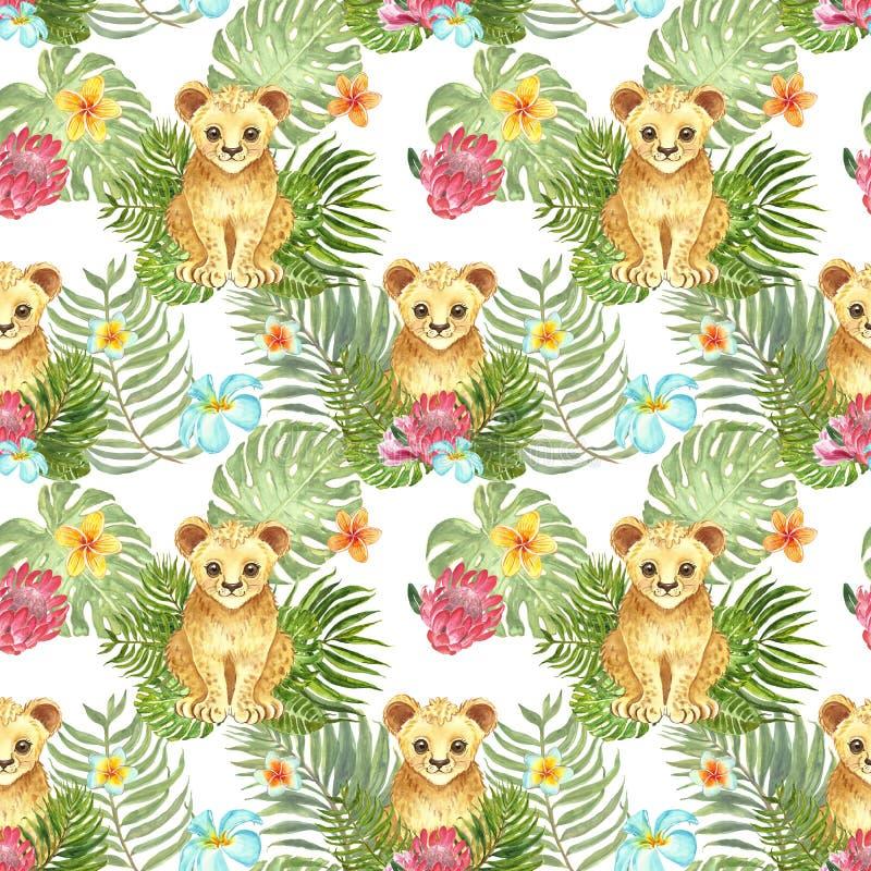 Modèle sans couture d'été avec l'petit animal de lion mignon d'aquarelle, les feuilles tropicales vertes et les fleurs exotiques  illustration stock