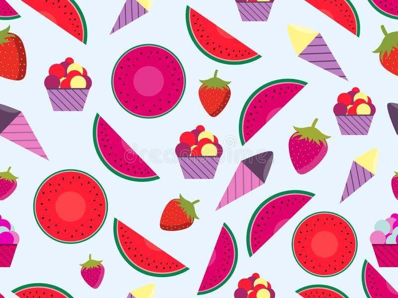 Modèle sans couture d'été avec les fruits et la crème glacée  Pastèque, fraise et cornet de crème glacée Vecteur illustration stock