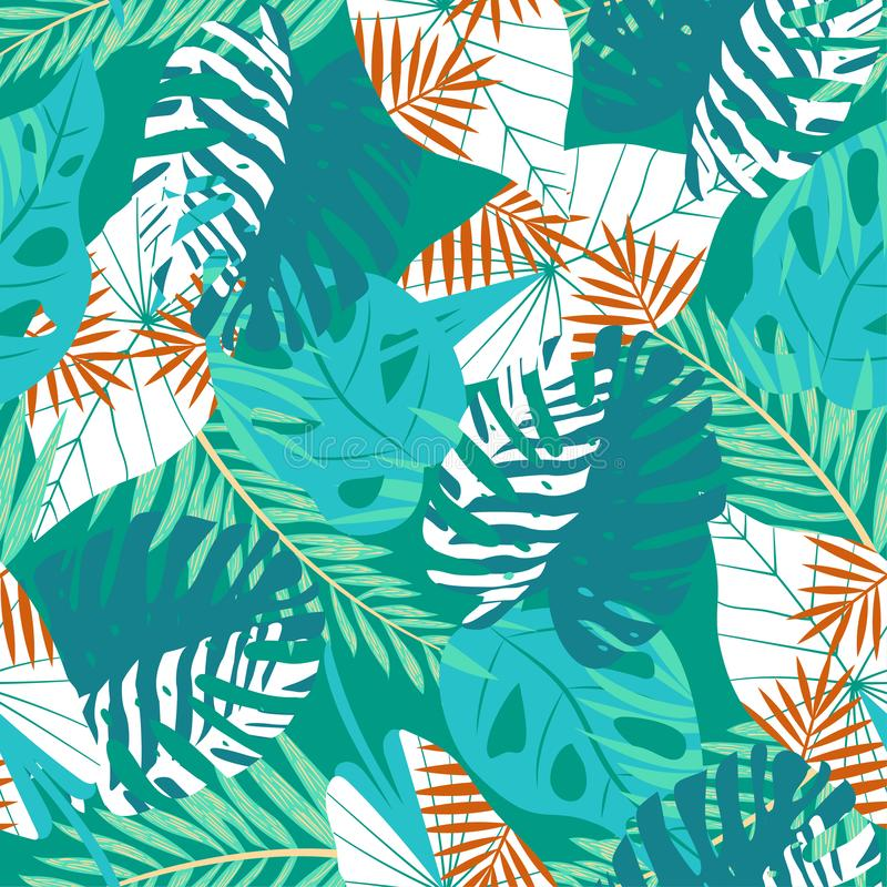 Modèle sans couture d'été avec les plantes tropicales et les fleurs lumineuses sur le fond vert Conception de vecteur Copie de ju illustration de vecteur