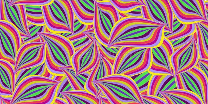 Modèle sans couture d'été avec les vagues ou les feuilles abstraites colorées illustration stock