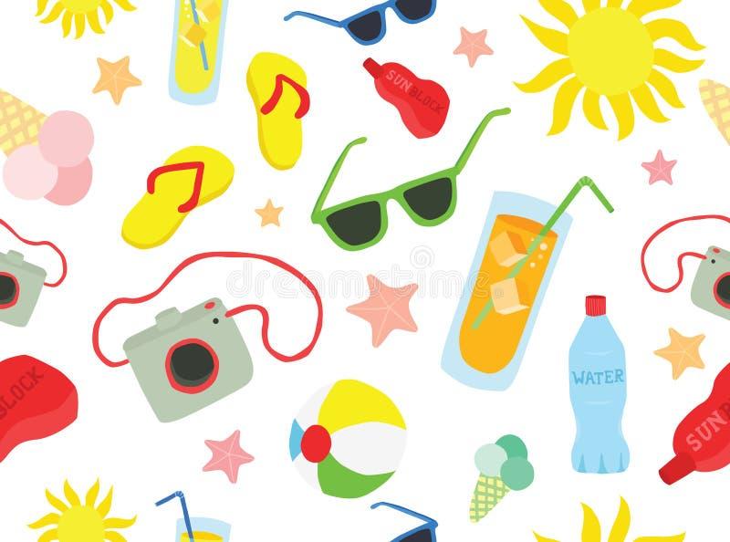 Modèle sans couture d'été de plage illustration libre de droits