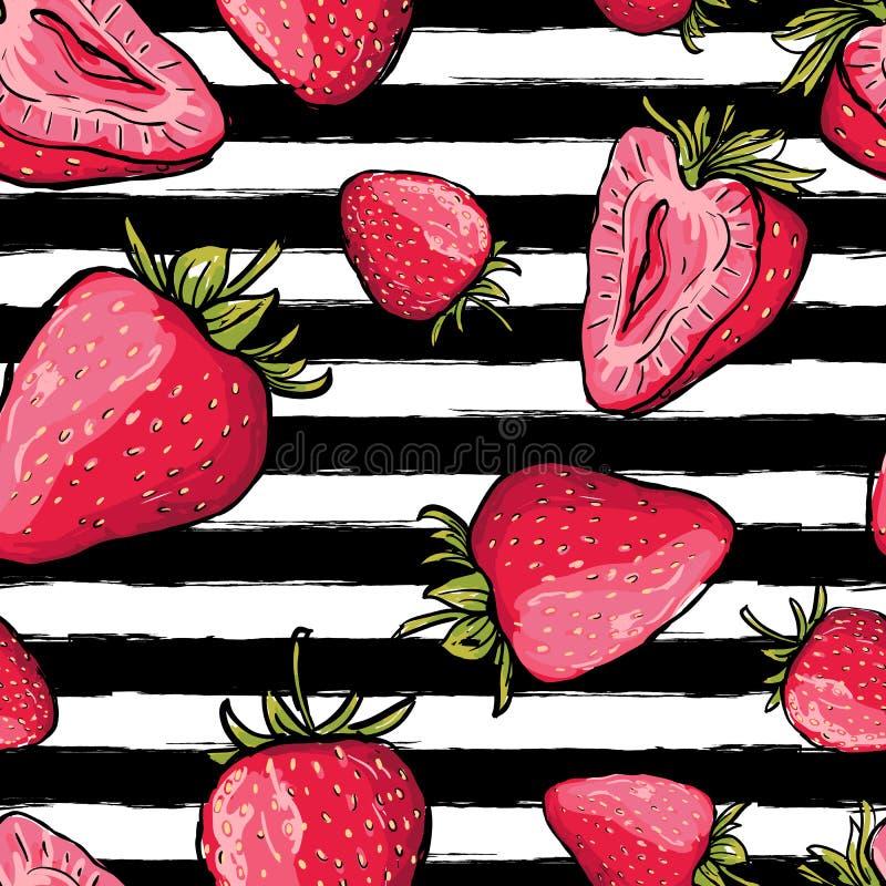 Modèle sans couture d'été de vecteur Fraises rouges sur noir et blanc illustration stock
