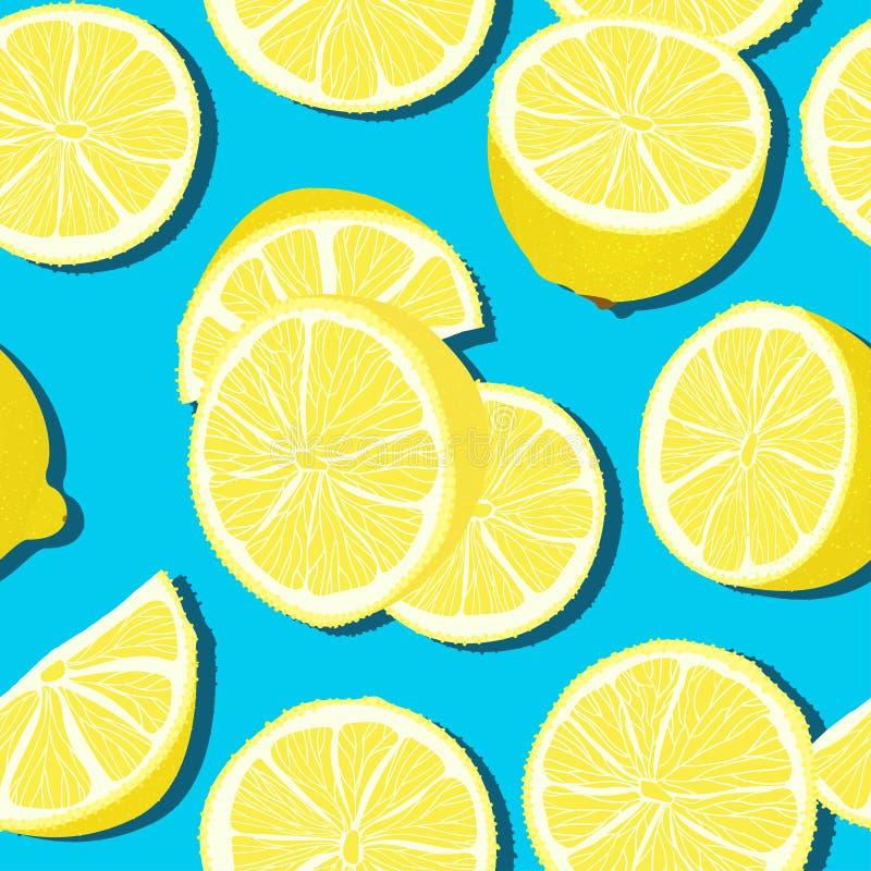 Modèle sans couture d'été minimal à la mode avec le citron entier et coupé en tranches de fruit frais sur le fond de couleur illustration stock