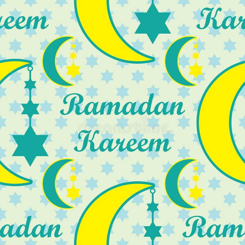 Modèle sans couture d'étoile de coup de lune de Ramadan Kareem illustration libre de droits