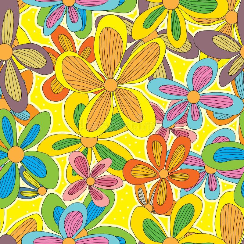 Modèle sans couture d'étoile de fleur de dessin illustration stock