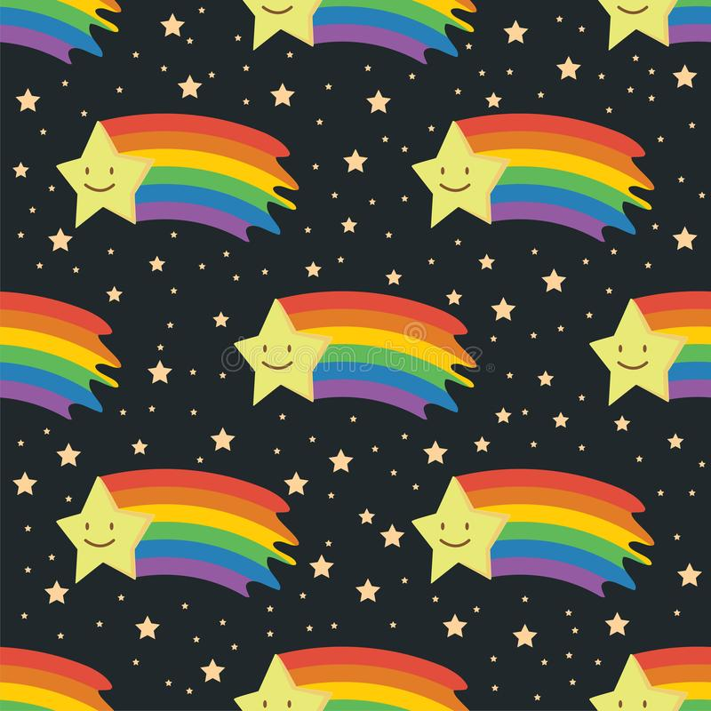 Modèle sans couture d'étoile filante d'arc-en-ciel illustration stock