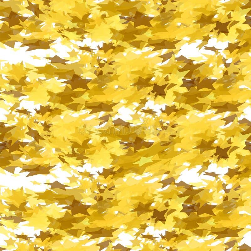 Modèle sans couture d'étoiles d'or sur le fond blanc Modèle étoilé jaune illustration libre de droits