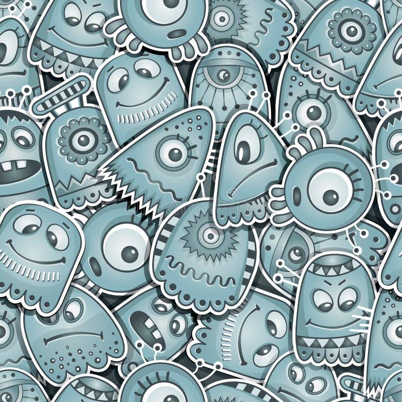 Modèle sans couture d'étranger et de monstres illustration de vecteur