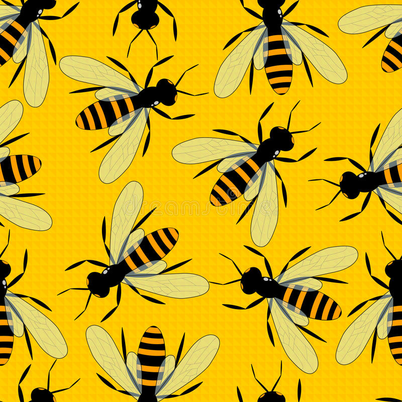 Modèle sans couture d'abeilles Fond jaune lumineux avec de grandes abeilles illustration de vecteur