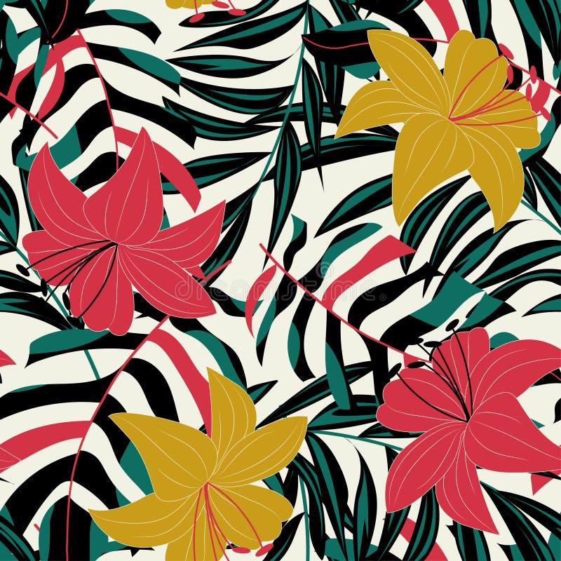 Modèle sans couture d'abrégé sur tendance avec les feuilles et les usines tropicales colorées Conception de vecteur Copie de jung illustration de vecteur