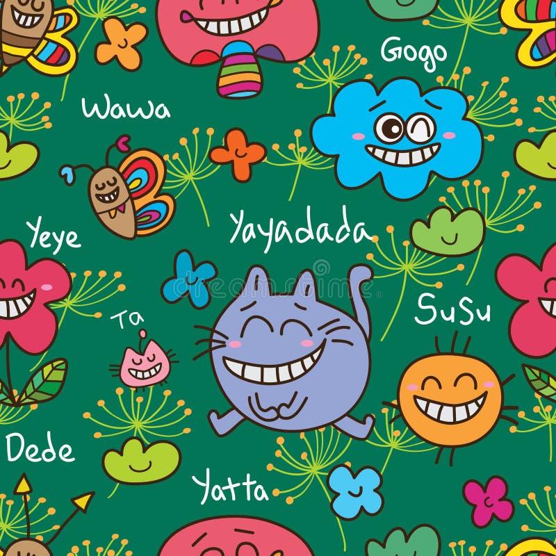 Modèle sans couture d'Alice d'abrégé sur ami de chat illustration stock
