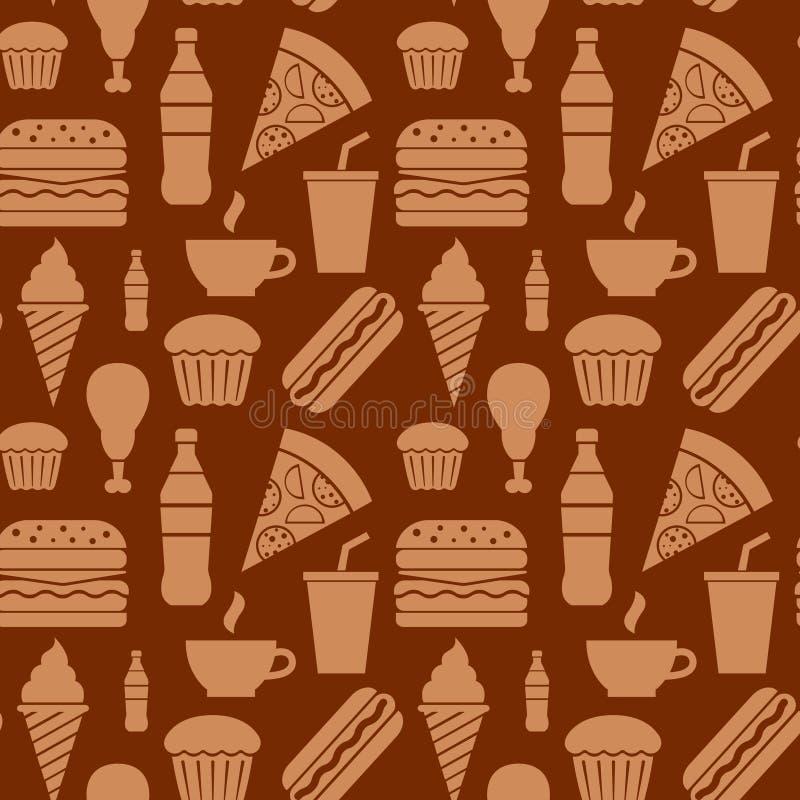 Modèle sans couture d'aliments de préparation rapide illustration de vecteur