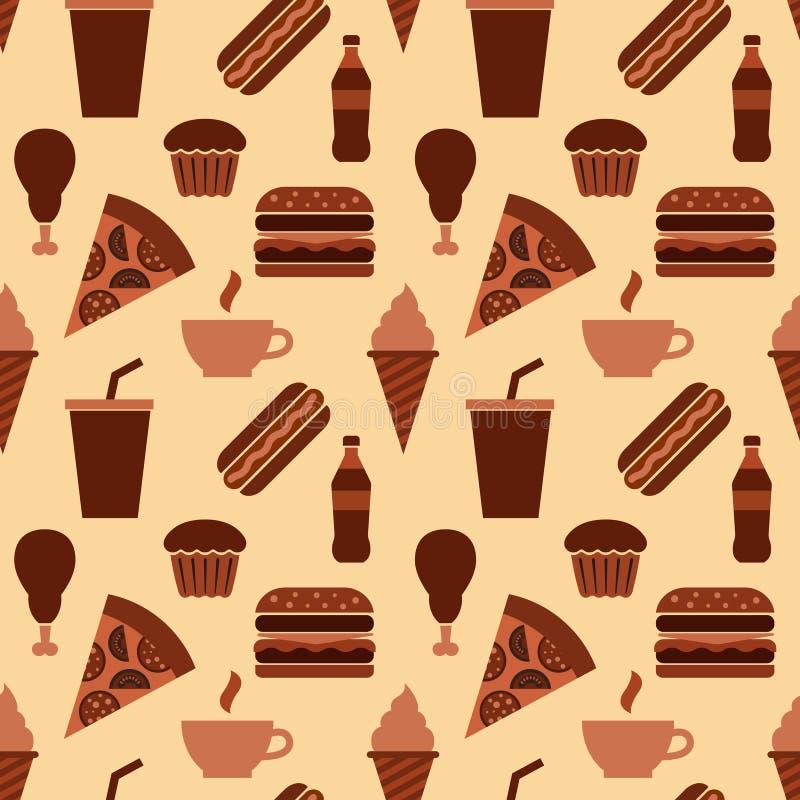 Modèle sans couture d'aliments de préparation rapide illustration stock