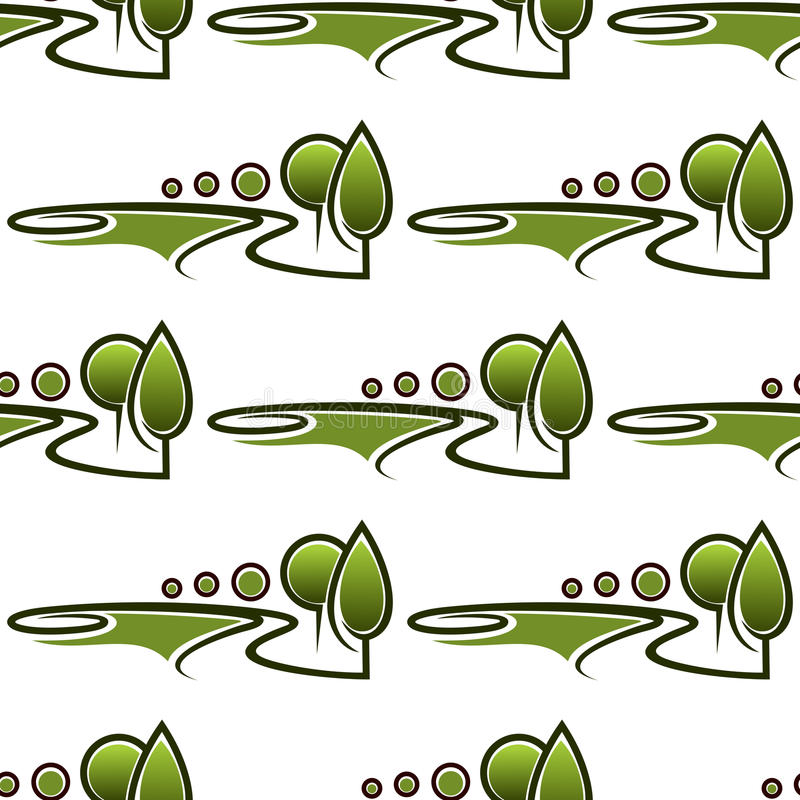 Modèle sans couture d'allées abstraites de parc illustration stock