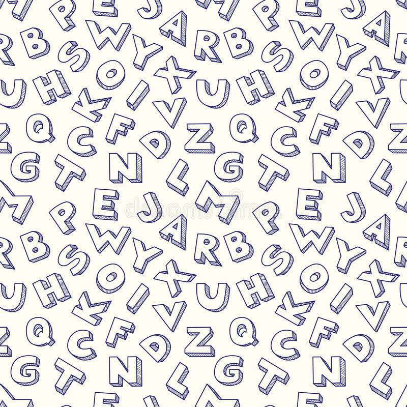 Modèle Sans Couture D Alphabet De Griffonnage. Photographie stock