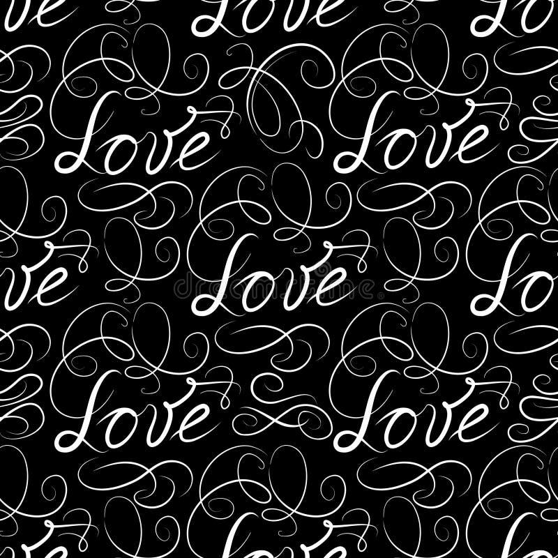 Modèle sans couture d'AMOUR calligraphique avec la vignette ` S DA de Valentine illustration de vecteur