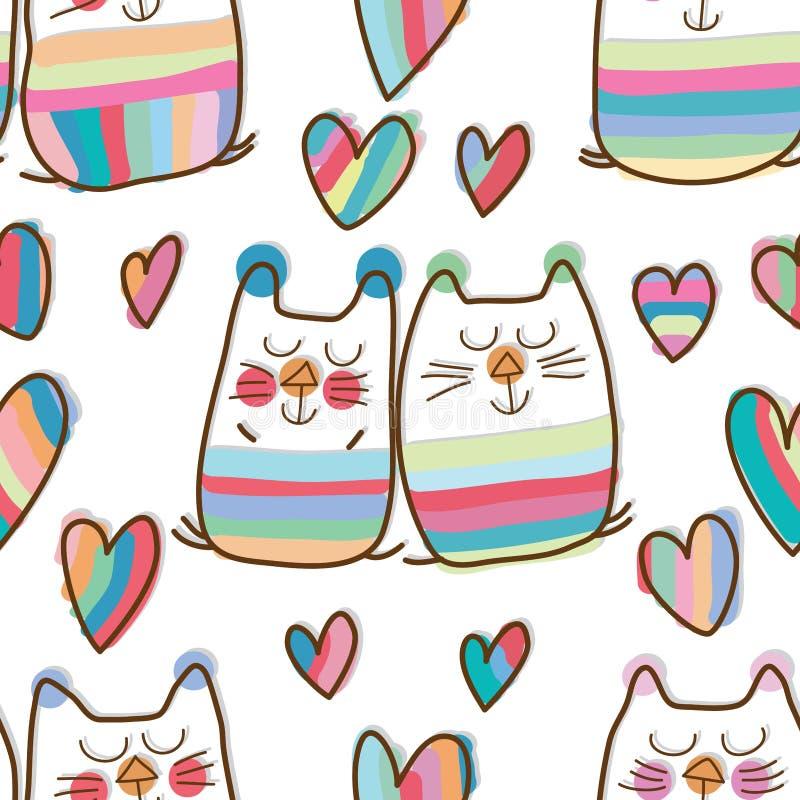 Modèle sans couture d'amour de rêve doux de paires de chat illustration libre de droits