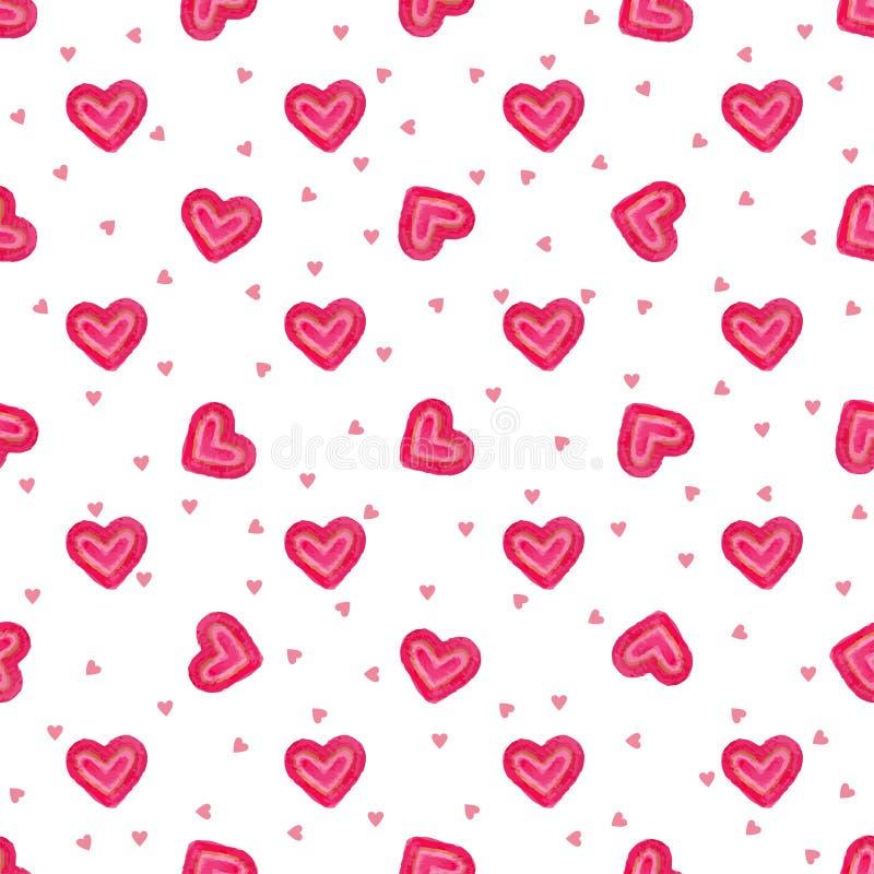 Modèle sans couture d'amoureux tirés par la main d'aquarelle Fond romantique peint d'amour de vecteur illustration stock