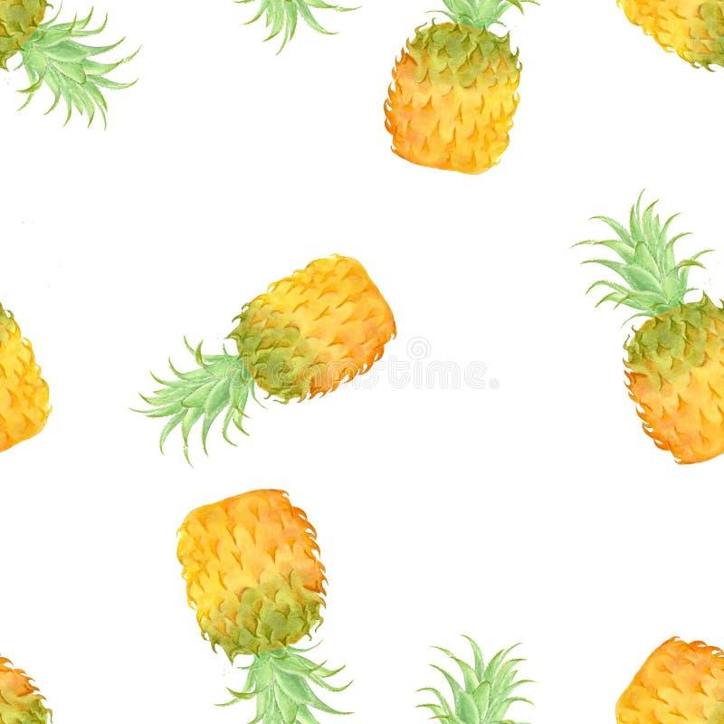 Modèle sans couture d'ananas, aquarelle peinte à la main illustration de vecteur