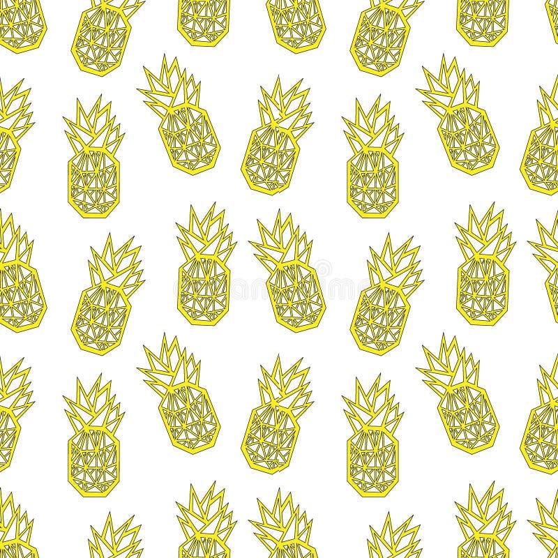 Modèle sans couture d'ananas d'impression géométrique blanc et jaune de textile illustration libre de droits