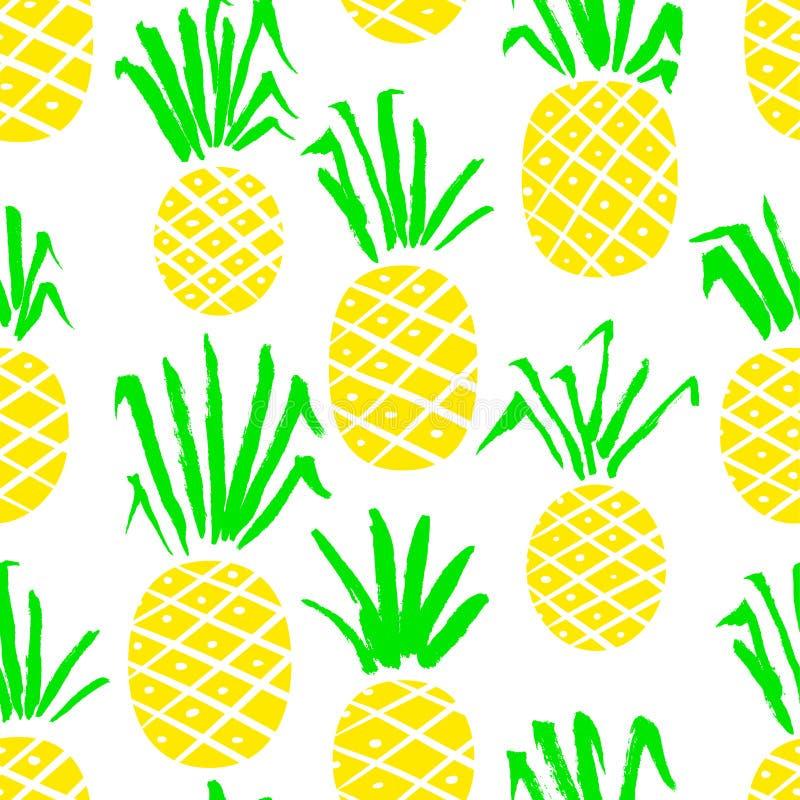 Modèle sans couture d'ananas Fond avec des fruits frais d'été illustration de vecteur